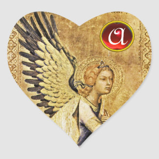 ANNUNCIATION ANGEL  Heart Red  Ruby Monogram Heart Sticker