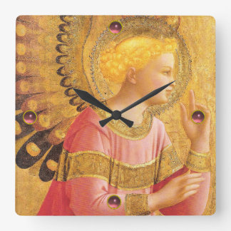 ANNUNCIATION ANGEL IN GOLD AND PINK SQUARE WALL CLOCK