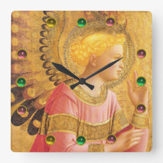 ANNUNCIATION ANGEL IN GOLD PINK Colorful gemstones Square Wall Clock