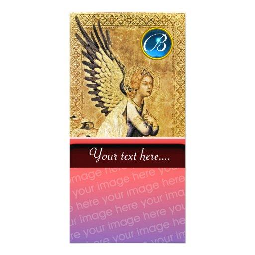 ANNUNCIATION ANGEL MONOGRAM, Blue Sapphire Photo Card Template