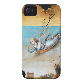 ANNUNCIATION ANGEL  MONOGRAM ,Brown Parchment iPhone 4 Covers