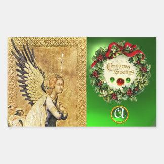 ANNUNCIATION ANGEL MONOGRAM, Green Emerald Rectangular Sticker