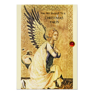 ANNUNCIATION ANGEL MONOGRAM ,Red Ruby champagne Card