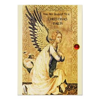 ANNUNCIATION ANGEL MONOGRAM ,Red Ruby champagne Card
