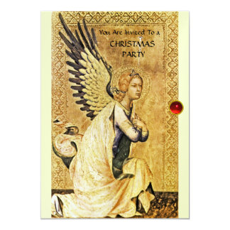 ANNUNCIATION ANGEL MONOGRAM ,Red Ruby white ice Card