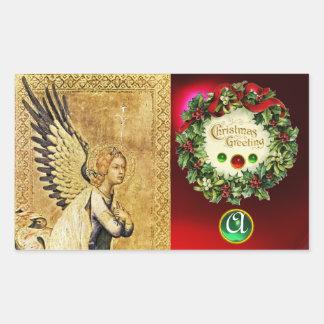 ANNUNCIATION ANGEL MONOGRAM,  Ruby Green Emerald Rectangular Sticker