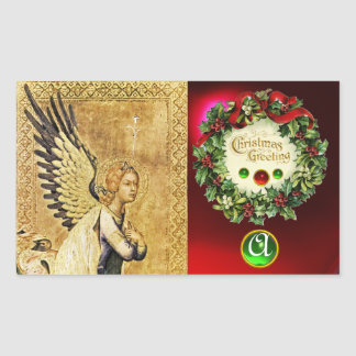 ANNUNCIATION ANGEL MONOGRAM,  Ruby Green Emerald Rectangle Stickers