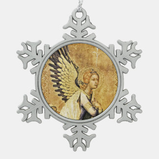 ANNUNCIATION ANGEL SNOWFLAKE PEWTER CHRISTMAS ORNAMENT