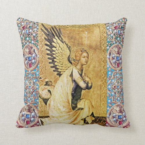 ANNUNCIATION ANGEL WITH RED BLUE GEMSTONESPEARLS THROW PILLOW