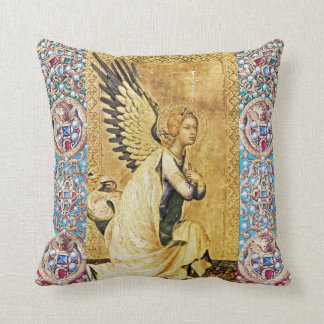 ANNUNCIATION ANGEL WITH RED BLUE GEMSTONES,PEARLS THROW PILLOW