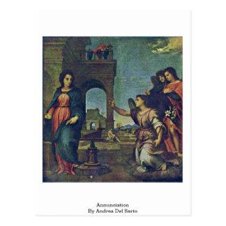 Annunciation By Andrea Del Sarto Postcard