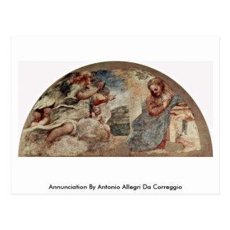 Annunciation By Antonio Allegri Da Correggio Post Cards