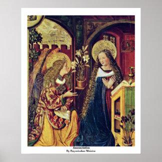 Annunciation By Bayerischer Meister Poster