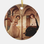 Annunciation (by Fra Angelico) Double-Sided Ceramic Round Christmas Ornament