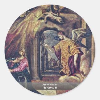Annunciation By Greco El Stickers