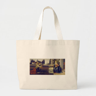 Annunciation by Leonardo Da Vinci Jumbo Tote Bag