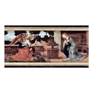Annunciation By Lorenzo Di Credi O Leonardo Da Vin Customized Photo Card