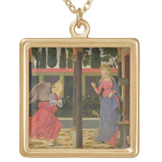 Annunciation, c.1457 (tempera on panel) gold plated necklace