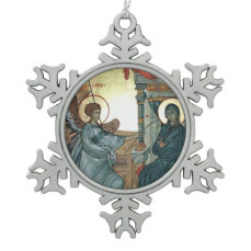 Annunciation Snowflake Pewter Christmas Ornament