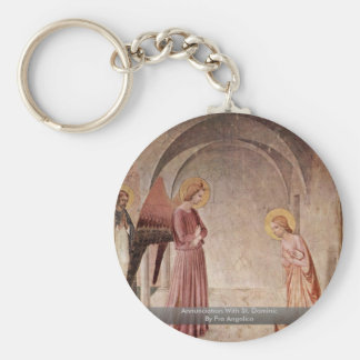 Annunciation With St. Dominic By Fra Angelico Basic Round Button Keychain