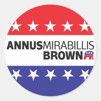 Annus Mirabillis Brown Pegatina Redonda