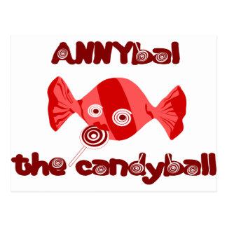 annyball candy ball postcard