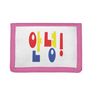 Annyeong! Korean Hi / Hello 안녕 Hangul Language Trifold Wallet