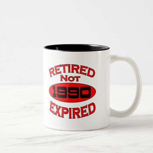Año 1990 del retiro taza dos tonos
