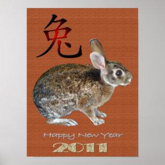 Año 2011 del conejo póster