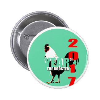 Año 2017 del gallo en botón verde del círculo R Pin Redondo De 2 Pulgadas