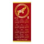Año adornado del oro de 2015 calendarios del rojo lona