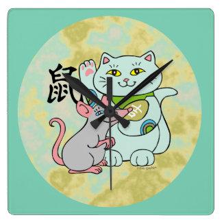 Año afortunado del gato de la rata reloj cuadrado