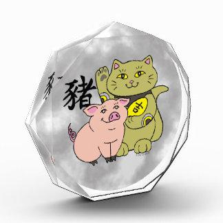 Año afortunado del gato del cerdo