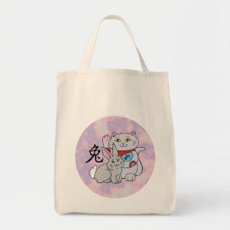 Año afortunado del gato del conejo bolsa tela para la compra