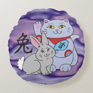 Año afortunado del gato del conejo cojín redondo