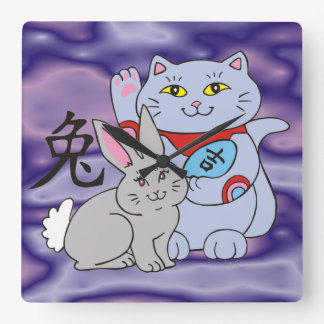 Año afortunado del gato del conejo reloj cuadrado