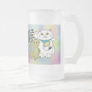Año afortunado del gato del mono taza de cristal