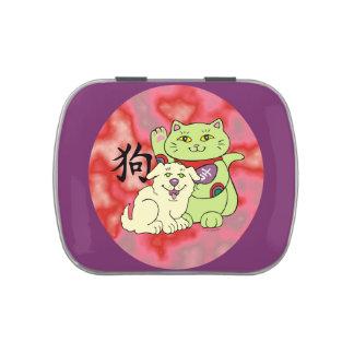 Año afortunado del gato del perro jarrones de caramelos