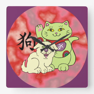 Año afortunado del gato del perro reloj cuadrado