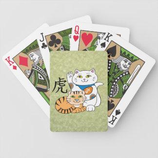 Año afortunado del gato del tigre baraja cartas de poker