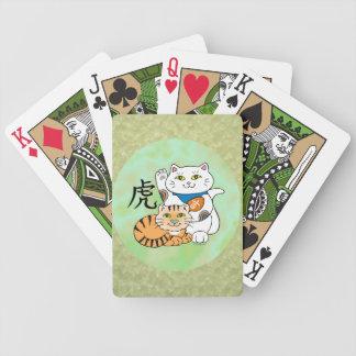 Año afortunado del gato del tigre cartas de juego