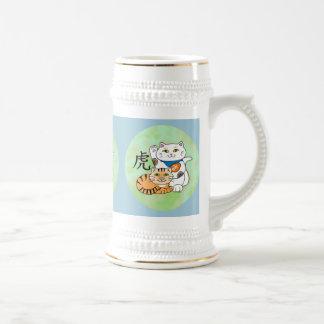 Año afortunado del gato del tigre jarra de cerveza