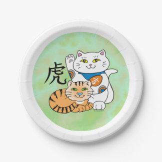 Año afortunado del gato del tigre platos de papel