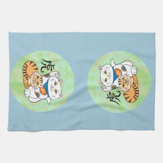 Año afortunado del gato del tigre toallas de cocina