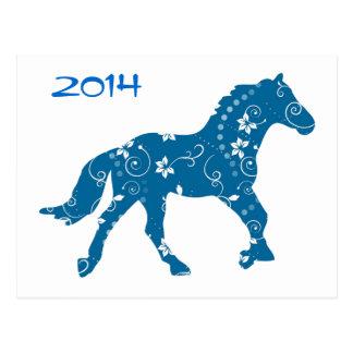 Año azul y blanco de la postal del caballo