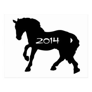 Año blanco y negro de la postal del caballo