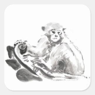 Año chino 2016 del mono de la pintura original pegatina cuadrada