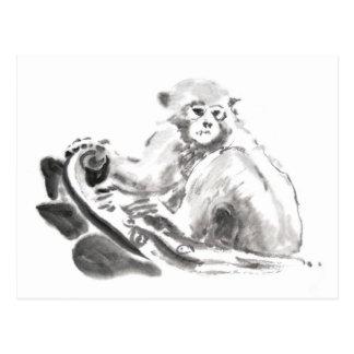 Año chino 2016 del mono de la pintura original postales