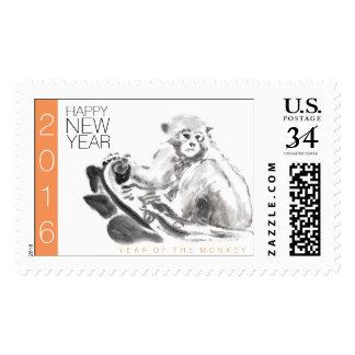 Año chino 2016 del mono de la pintura original timbres postales