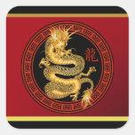 Año chino adornado de los pegatinas del dragón colcomanias cuadradas personalizadas